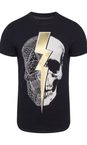 LIGHTNING SKULL T-SHIRT BLACK