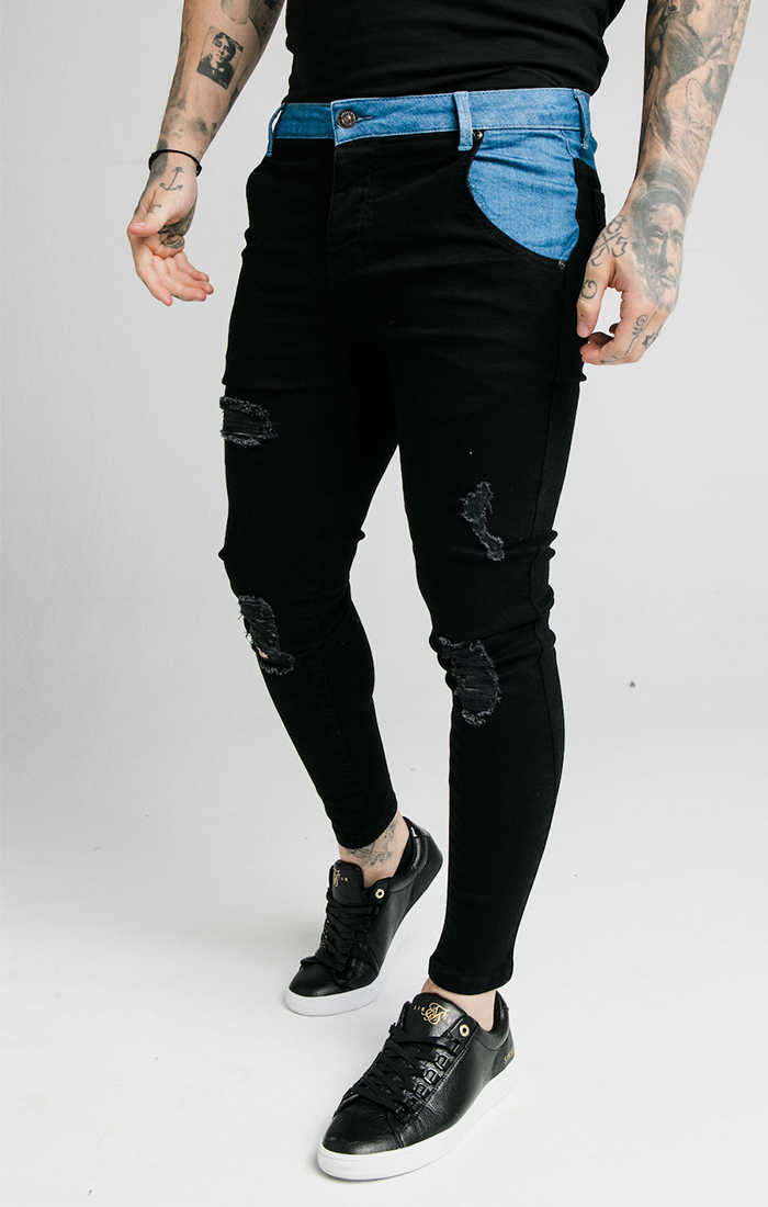 SIKSILK CONTRAST DISTRESSED SKINNY DENIMS