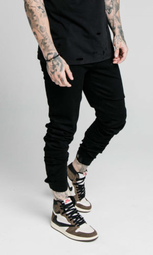 SIKSILK ELASTICATED STRAP CUFF DENIM JEANS