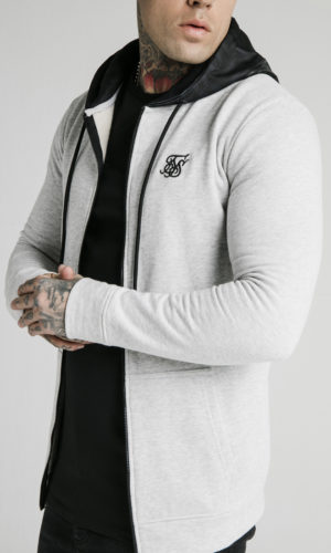 SIKSILK MUSCLE FIT ZIP THROUGH HOODIE