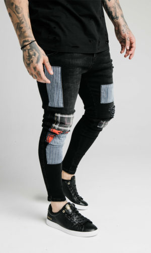 SIKSILK LOW RISE DISTRESSED FUSION PATCH DENIMS