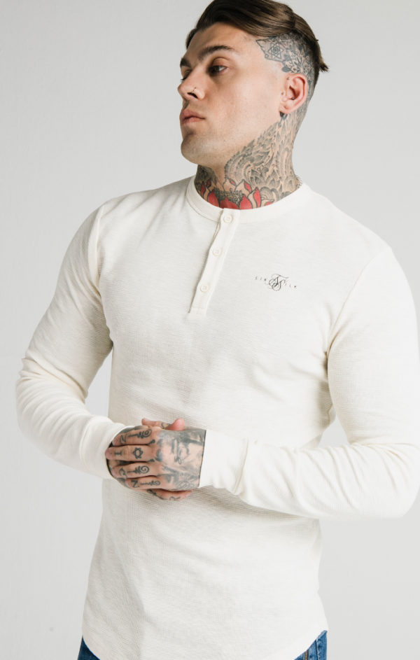 SIKSILK LONG SLEEVE BUTTON DOWN TEE