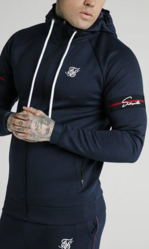SikSilk Exposed Tape Zip Through Hoodie- Navy