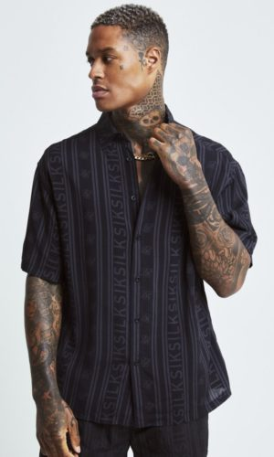 SikSilk Re-Run Shirt - Black & Grey