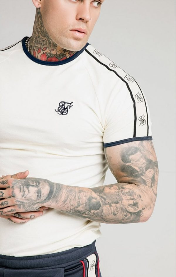 SikSilk S/S Premium Ringer Gym Tee - Off White
