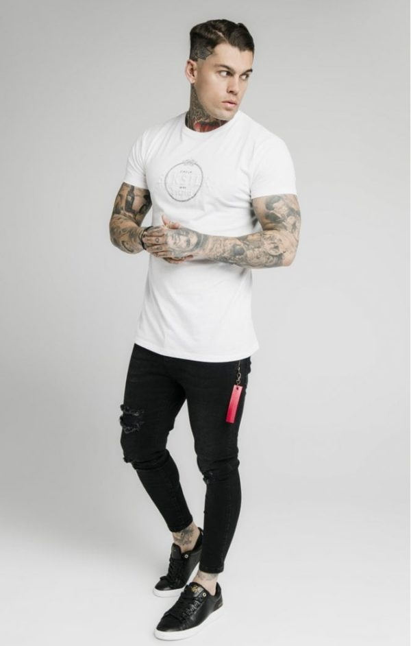 SikSilk Straight Hem Chain Print Box Tee - White