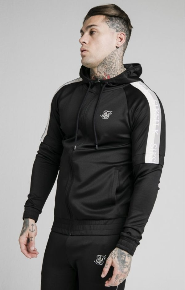 SikSilk Zip Through Hoodie Detachable Sleeves - Black