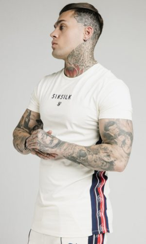 SikSilk S/S Retro Essential Tape Tee - Off White